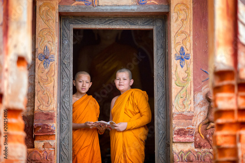 Two novices are standing reading books together in the temple.