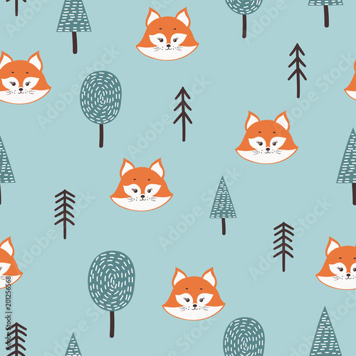 Cotton fabric Seamless pattern with cute fox a nd abstract  trees. Forest childish background.