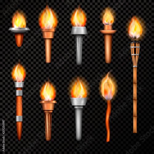Cuadros en Lienzo Fire Torch Realistic Set
