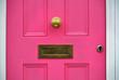 Leinwanddruck Bild - detail of pink door with letterbox,