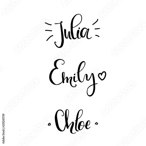 Khloe Julia Emily Female Names Made In Lettering Style Template