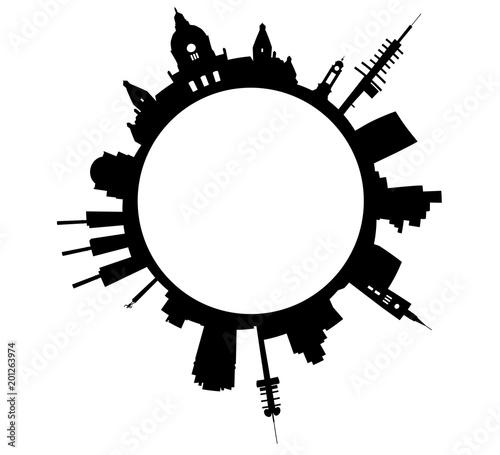 Stampa su Tela Skyline der Stadt Hannover als Umriss