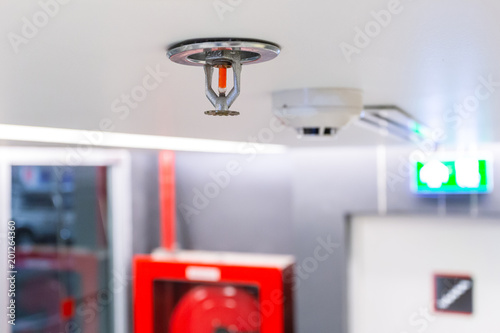 Obraz Fire Sprinkler, focus at selective, Fireplace in the office for safety and to reduce damage in case of fire, signage exit blur background. - fototapety do salonu