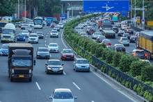 Gray Day Traffic Jam, Many Car...