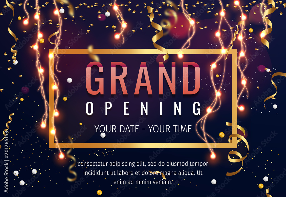Fototapeta Grand opening invitation concept. Celebration design. Gold glitter letters on abstract background with light effect and bokeh.