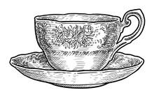 Antique Porcelain Cup Of Tea I...