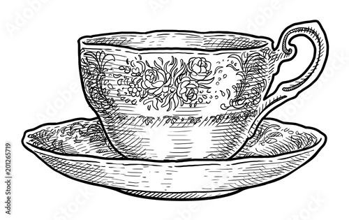 Cuadros en Lienzo Antique porcelain cup of tea illustration, drawing, engraving, ink, line art, ve