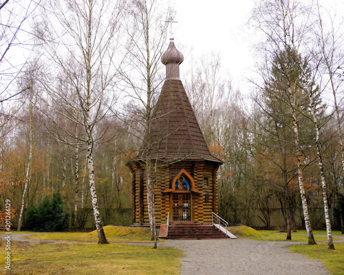 Canvastavla Dachau, Upper Bavaria / Germany - March 2018: The Russian-orthodox Memorial Chapel nestled among the trees at the Dachau Concentration Camp