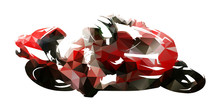 Road Motorcycle Racing, Polygonal Vector Illustration