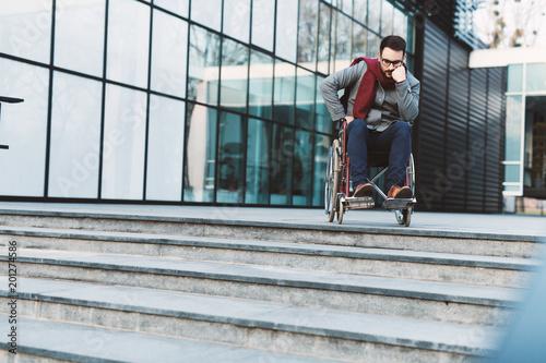Fotografie, Obraz  Man in wheelchair