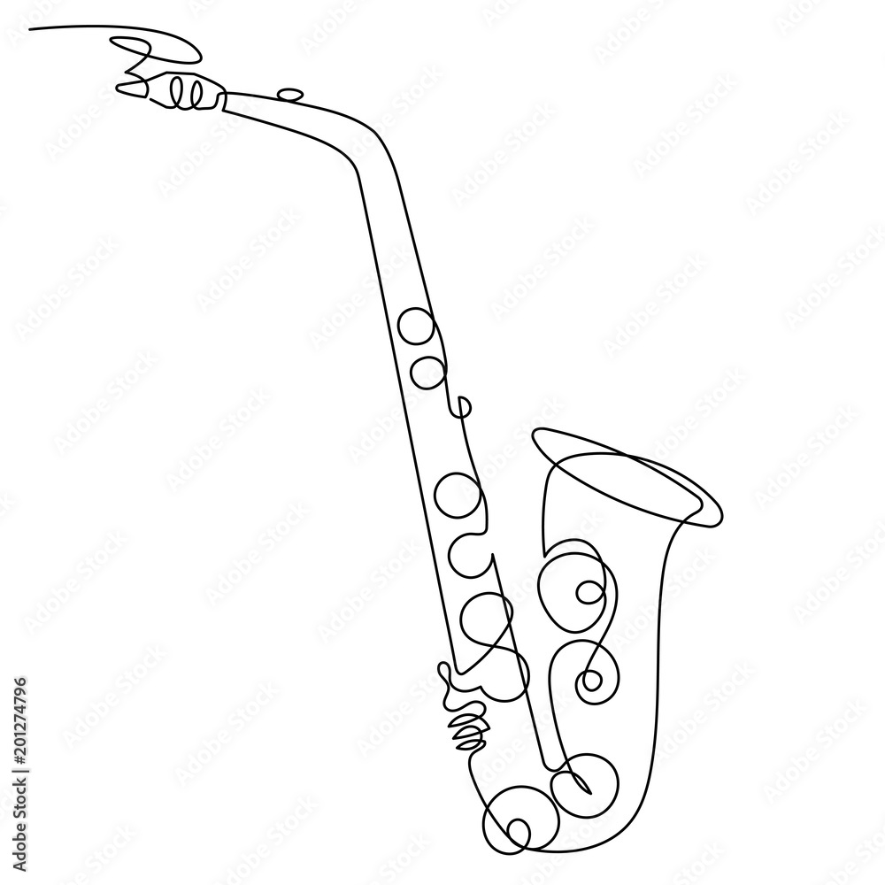 Fotografía Continuous Line Drawing Of Saxophone Isolated