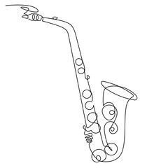 Continuous line drawing of saxophone isolated vector art. Musical instrument ...