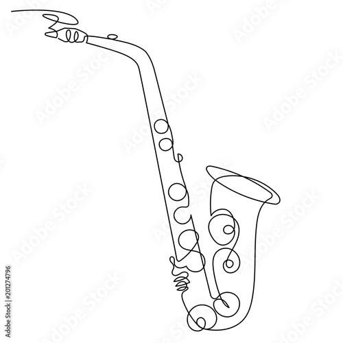 Continuous line drawing of saxophone isolated vector art Tapéta, Fotótapéta