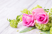 Romantic Rose Flower Bouquet  On Wooden Background