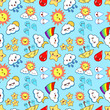 Kawaii weather icons. Colored vector seamless pattern on blue background Flat design Vector Illustration EPS