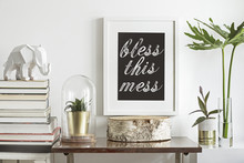 Interior Decoration With Plants And Text In Frame