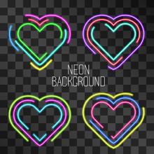 Neon Heart Shape Vector Frame, Maze Concept Illuminating Signboard Isolated On Transparent Background. Glowing Romantic Symbols. Hazy Light Signboard Effect. Decorative Vintage Night Bar Style Icon.