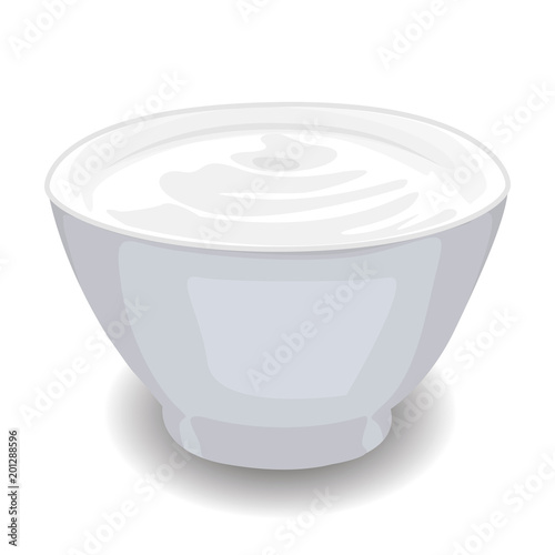 Staande foto Zuivelproducten Bowl of Sour Cream isolated vector illustration on a white background