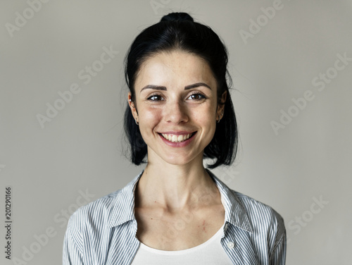 Portrait of cheerful Caucasian woman Wall mural
