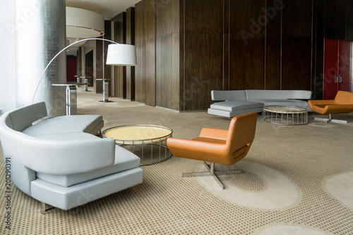 Modern Hotel Lobby With Hallway Or Office Lounge Room Interior Wood Paneling Leather
