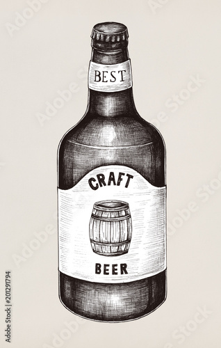 Deurstickers Kamperen Hand drawn of craft beer bottle