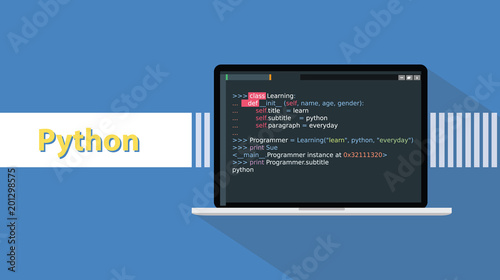 Fotografía  python programming language with example code on screen text