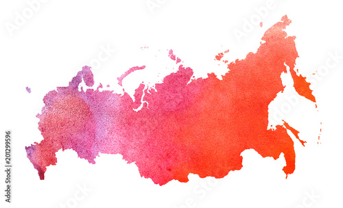 Watercolor Russia map design Fototapet