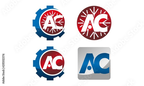 Letter AC Gear Template Set - Buy this stock vector and explore ...