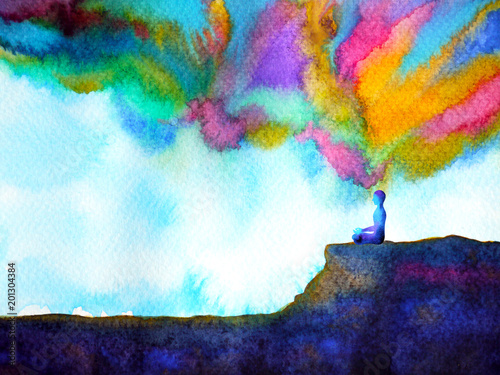 Fotografia human and spirit powerful energy connect to the universe power abstract art wate