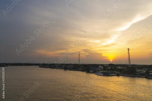 Spoed Foto op Canvas Zee zonsondergang Beautiful sunset at Bangtaboon Bay, Phetchaburi, Thailand.