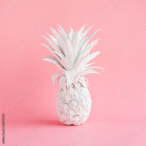 White pineapple on pink  pastel color background.creativity and inspiration concepts