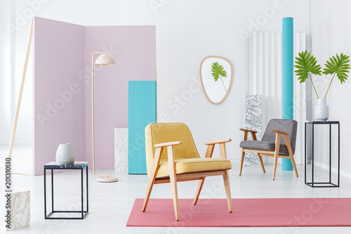 Deurstickers Overige Modern furniture catalogue with armchair