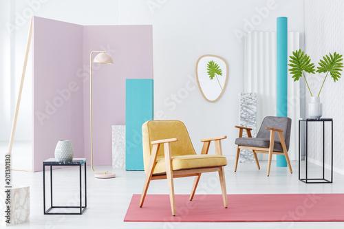 Foto op Canvas Bossen Modern furniture catalogue with armchair
