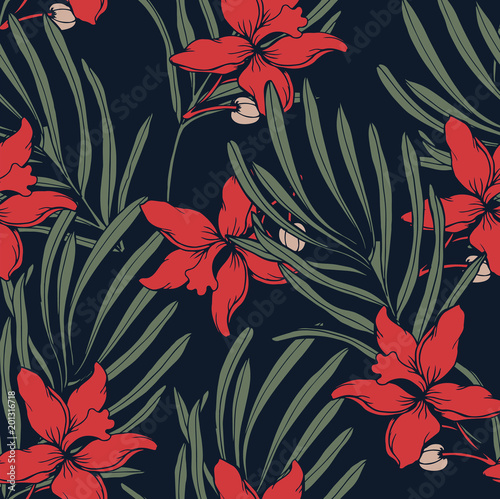 Canvas Print Abstract elegance pattern with floral background.