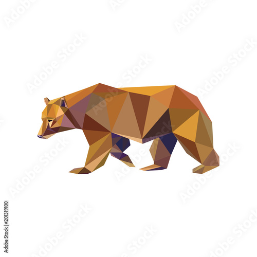 Wall Murals Horses Geometric low-poly bear banner. Abstract polygonal animal. Isolated triangle bear on white background.