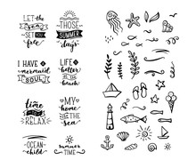 Hand-drawn Illustrated Quotes About Sea / Ocean / Summer.