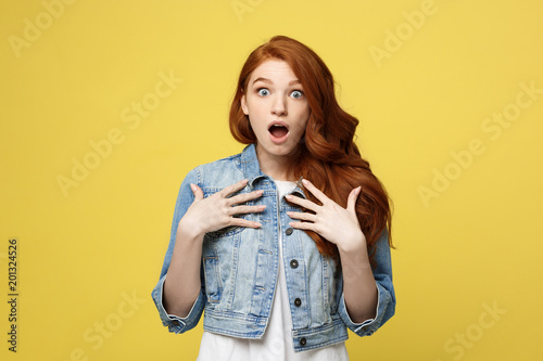 Fotografia, Obraz  Close up Portrait young beautiful attractive redhair girl shocking with something
