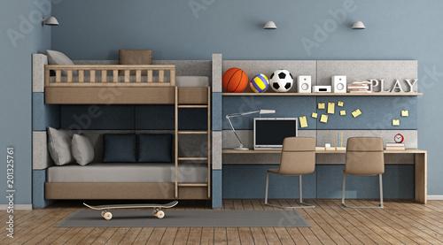 Deurstickers Retro Teen room with bunk bed