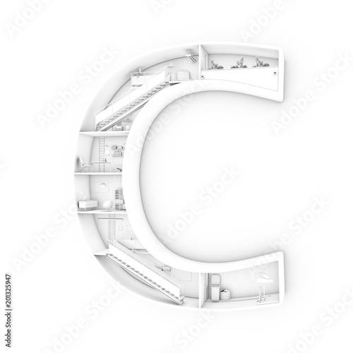 b1c5e869d10 Black and white interior of a construction in shape of letter