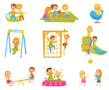 Happy Kids Playing Outdoors Se...