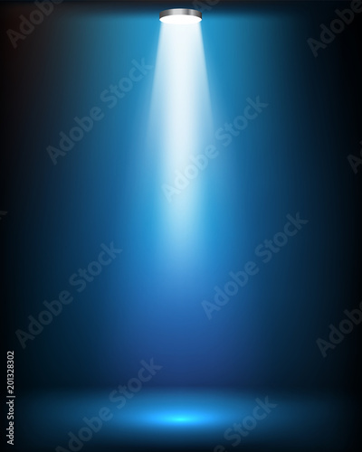 Studio light rays on blue background Wall mural