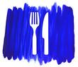 canvas print picture - Besteck Symbol auf gemaltem Hintergrund blau