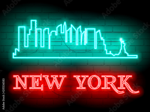 Neon silhouette of New York (United States) city skyline vector background. Neon style sign illustration. Illustration for t shirt printing or wall decoration. Brickwall as background.