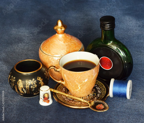 Fototapeta A still-life consisting of various items. Russia, March, 2018. obraz