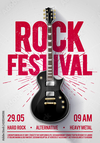 vector illustration rock festival concert party flyer or poster design template with guitar, place for text and cool effects in the background Wall mural