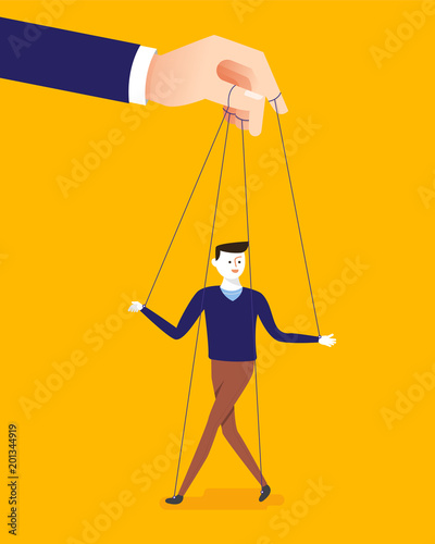 Fototapeta Business concept illustration of big hand and a businessman being controlled by puppet master