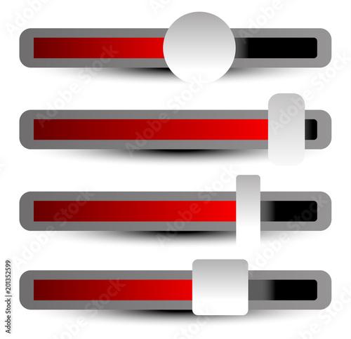 Fotografija Easy to adjust faders, adjusters, sliders with different levels