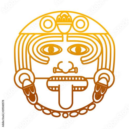 Degraded Line Aztec Sun God Culture Symbol Buy This Stock Vector
