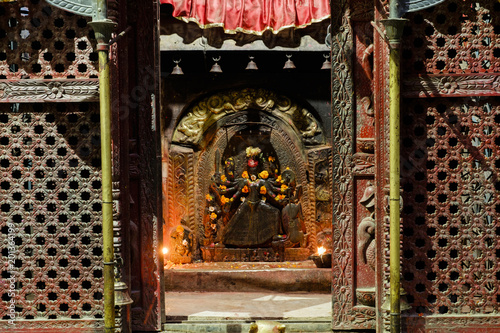 the eight arms Hindu god in a temple, Nepal
