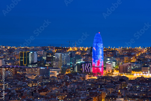 Foto op Canvas Barcelona Scenic aerial view of Barcelona city skyscraper and skyline at night in Barcelona, Spain.